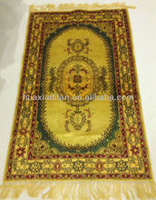 golden hand knotted silk carpet rug in canton