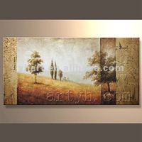 Home decor hotel wall art customized diy modern three panel waterproof beautiful landscape oil painting