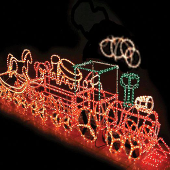 outdoor animated rope light train motif light 3d christmas sculpture
