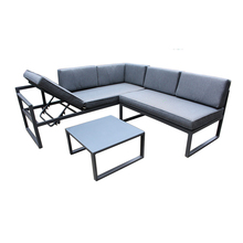 L Berbentuk Berkapasitas Adjustable Saham Garden Outdoor Furniture Aluminium Sudut <span class=keywords><strong>Sofa</strong></span> <span class=keywords><strong>Set</strong></span>