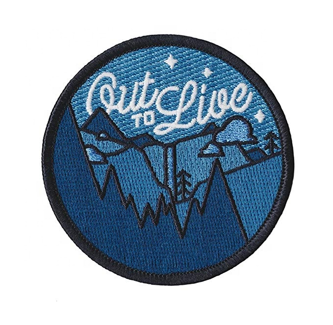 Custom free sample heat transfer chenille exquisite silk badge woven iron on embroidery patch