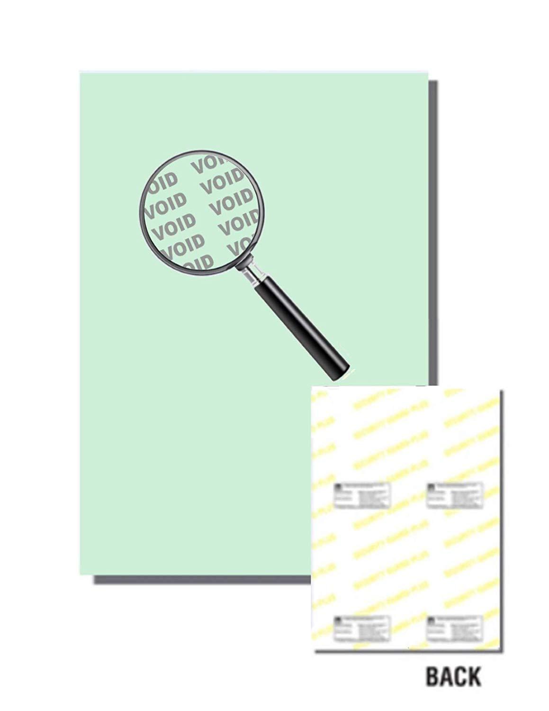 "Laser Print Security Paper (SGP-24-65), Cover Green 65-lb, 8.5"" x 14"", Four Packs (250 Sets Per Pack) - 1000 Sheets"