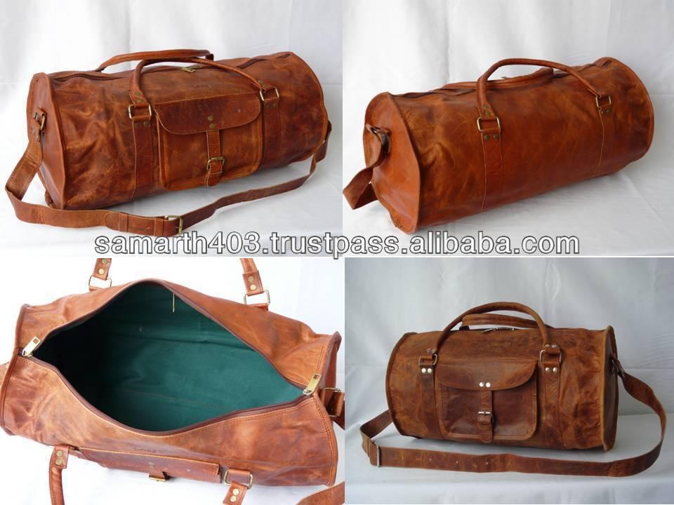 0c613d220593 Genuine Leather Round Shape Gym   Sports Bag