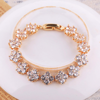 Custom Gold Jewelry Charm Crystal Flower Bracelet For Women