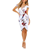 2019 New Summer V Neck Floral Print Tight Off Shoulder Women Club Bodycon Dresses Sexy
