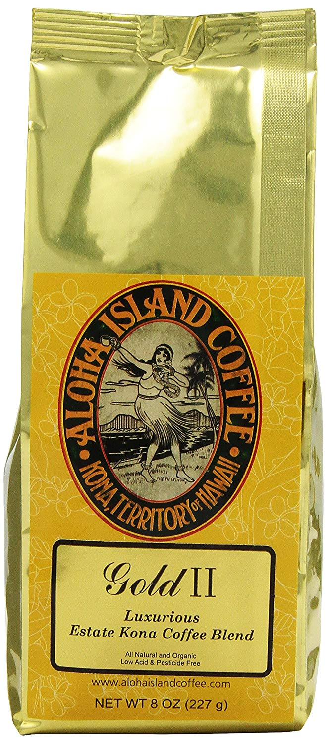 Aloha Island Coffee Gold Organic Kona Coffee Blend, 8 Oz Whole Bean, 8-ounces