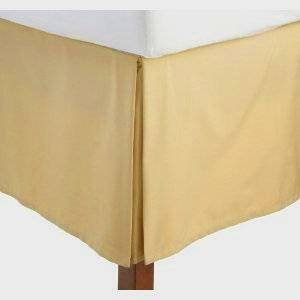 Wrinkle-Free Solid California King Size Gold Pleated Tailored Bed Skirt with 14 Inches Drop- 95 gsm, 100% Microfiber.