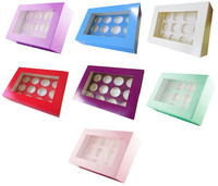 "NEW 4"" Deep Cupcake Cake Boxes Holds 12 Pick Any Colour & Quantity"
