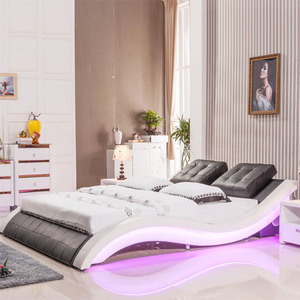 Modern Home Bedroom Furniture,Italian Led Lighting Leather Bed