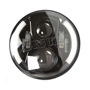 China Manufacturer of Round Car LED Projector Headlight with Half Halo H13 H4 7 Inch LED Driving Car Headlight for Jeep Wr