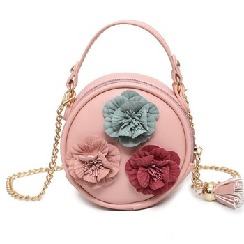 Zm40062c Girls 2018 Spring New Style Small Round Bag Cute Flower