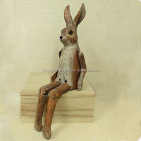 wooden carving home decoration sitting rabbit for home decoration