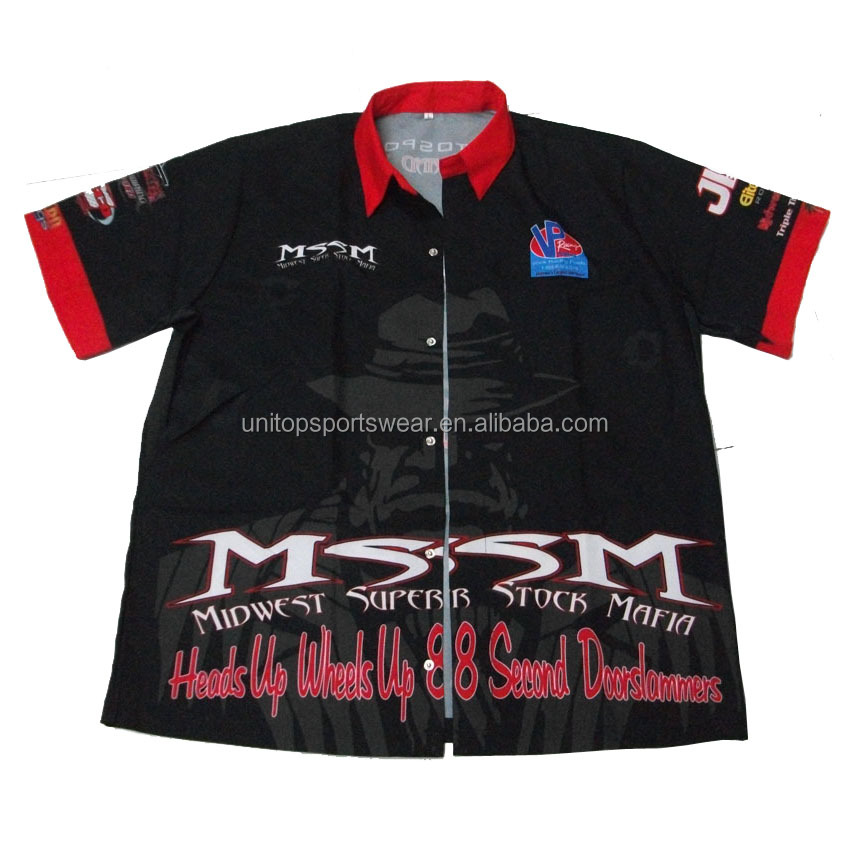 Customized sublimated your sponsors Motocross Racing Team Black Pit Crew Shirt