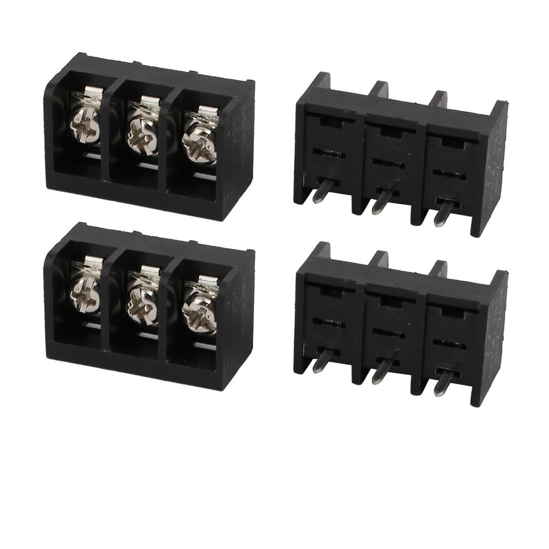 uxcell 4 Pcs 9.5mm Pitch 3 Terminals AC 300V 25A Male Screw Barrier Terminal Block Connector