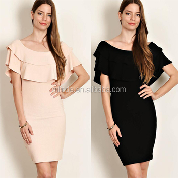 China Factory Bulk Buy Plus Size Fancy Solid Ruffle Layered Bodycon