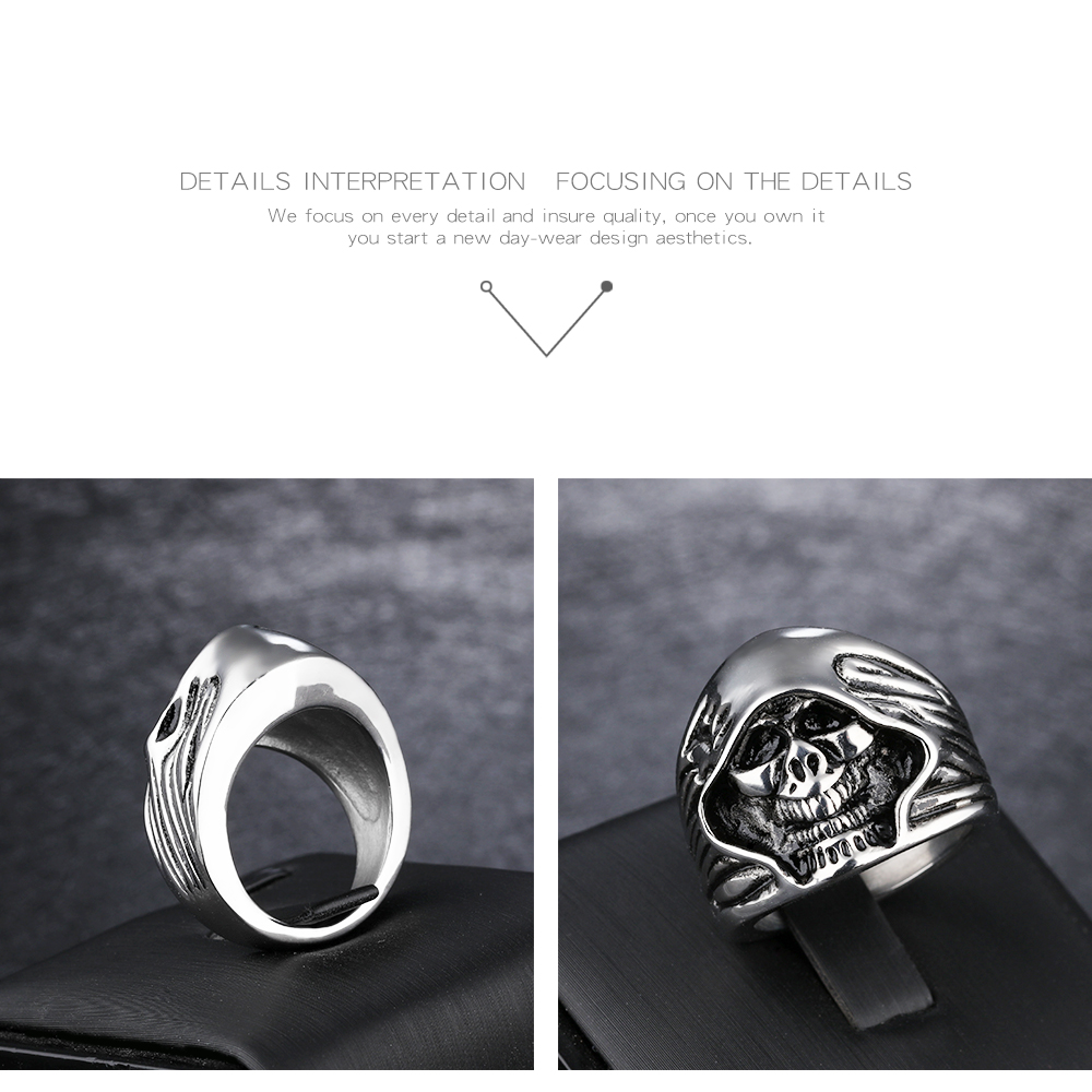 Wholesale Jewelry 316L Stainless Steel Skull Men'S Silver Ring For Men
