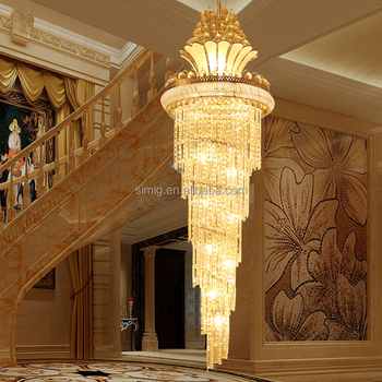 Simig Factory modern Size Customized gold luxury E14 crystal large chandelier light for lobby hallway stairs villa project