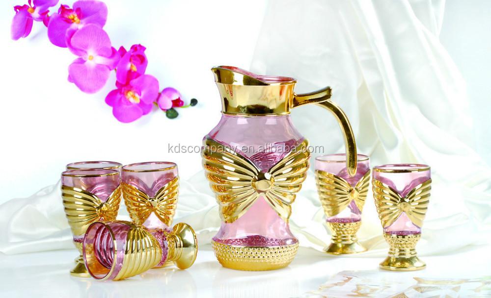 Golden Design 7pcs Drinking Glass Water Jug Cup Set