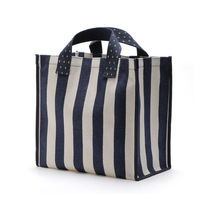 Manufacturers Custom Made Striped Logo Print Cotton Tote Canvas Bag Jute Canvas Tote Bag Out For Mummy