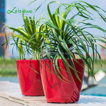 Garden Decor Plastic Pot Self Watering Round Flower Box Interior Planter