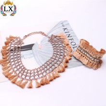 NLX-01086 new bohemian jewelry fringe tassel collar statement necklace and bracelet sets crystal rhinestone boho tassel necklace