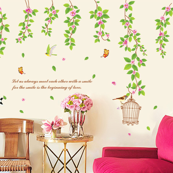 Fresh Leafy Vine Wall Stickers Home Decor Painting Birds Warm Green