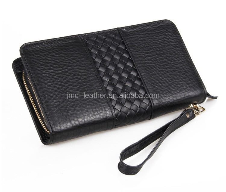 Double Zipper Closure Genuine Leather Clutch Bag For Many Cards Cellphone Large Capacity Handbag For Money 8070A