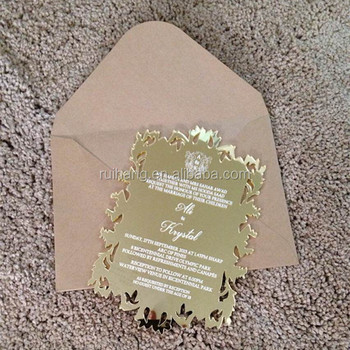 White Printing Gold Silver Acrylic Glass Mirrored Laser Cut Invitations With Unique And Classy Touch