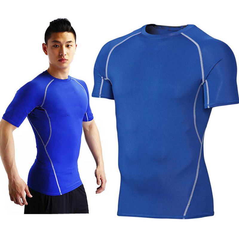 2015 Men's Compression Shirt Fitness Tights Gym T-Shirt Jogging Bodybuilding Running T Shirt For Men Quick Dry Fit Sports Tops