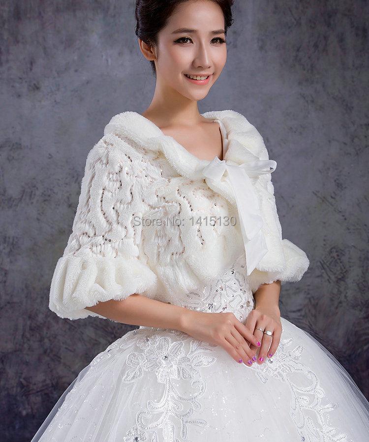 2015 Wedding Dress Bridal Faux Fur White Cape Wrap Shrug
