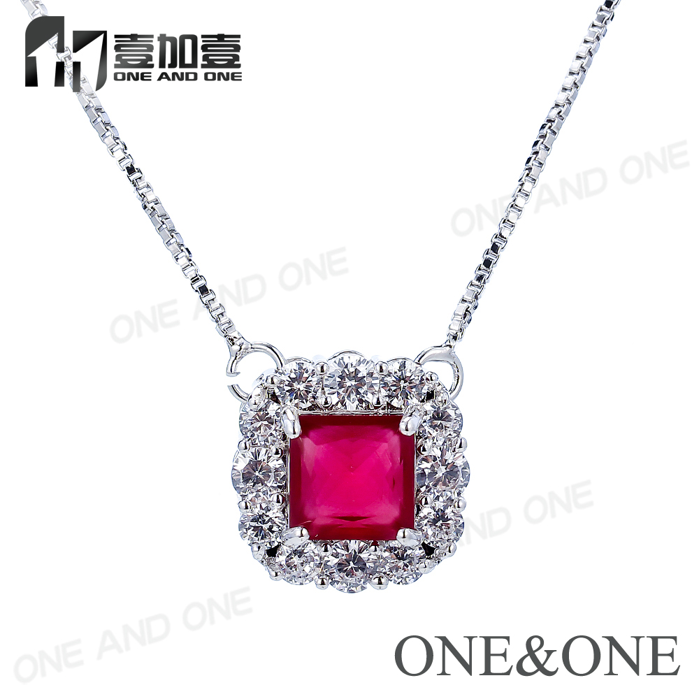 Attractive red glass diamon and white zircon charm brass pendant necklace