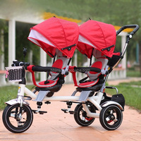new best selling baby twin stroller with umbrella/baby stroller tricycle for two babys