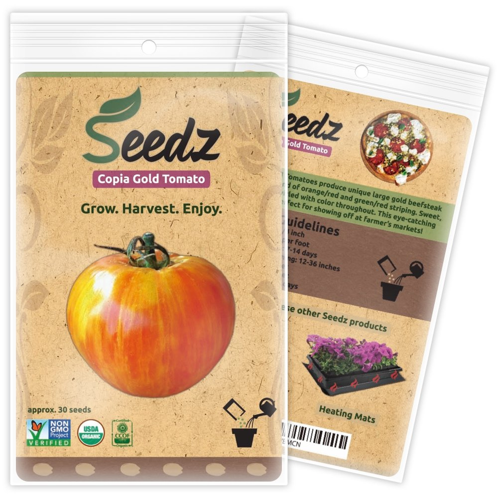 CERTIFIED ORGANIC SEEDS (Appr. 30) - Copia Gold Beefsteak Tomato Seeds - Organic Tomato Seeds, Open-Pollinated - Non GMO, Non Hybrid Vegetable Seeds - USA