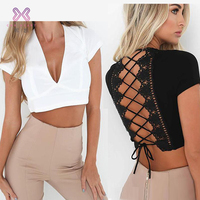 2019 Crossover Strap Back Design Women blouse And Tops v Neckline cap Sleeve Ladies New Tops