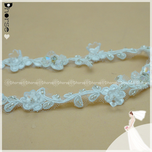 Small charming embroidery lace trim cording beaded lace trim with rhinestone DHBL1925