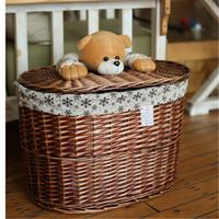 Folk art style and european feature wicker hamper basket