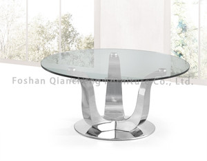 Round Glass Top Coffee Table Metal Base