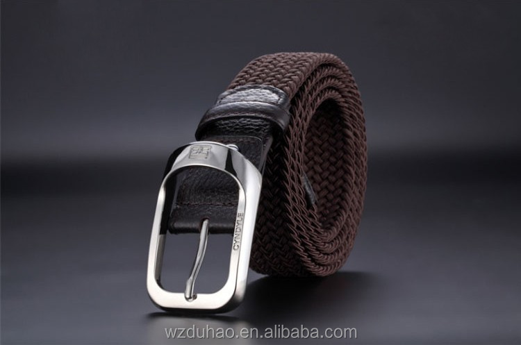 New Model Miliatry Fabric Elastic Stretch Braided Leather Belt For Men