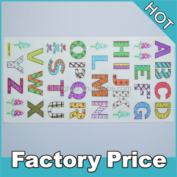 Self adhesive die cut colorful glitter pvc custom stickers alphabet letter