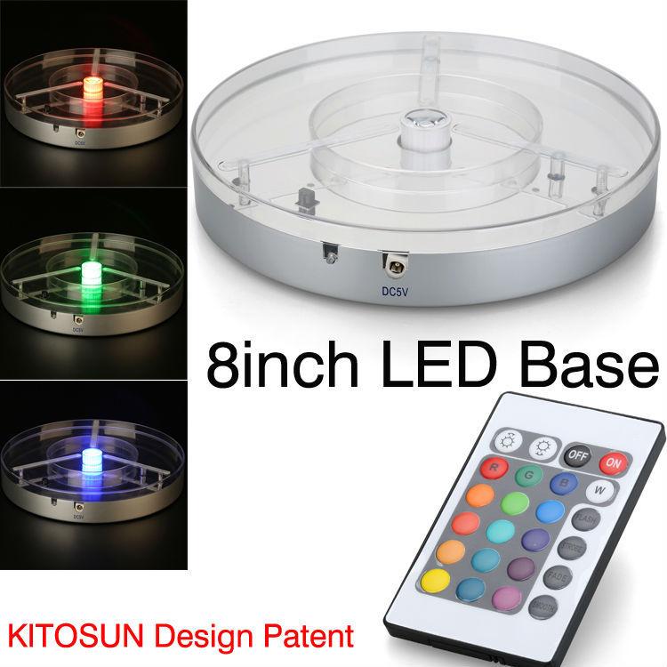 Pernikahan Centerpiece Lampu Isi Ulang Baterai Lithium Bertenaga 8 Inch Putaran LED Light Dasar untuk Silinder Vas Kaca Dekorasi