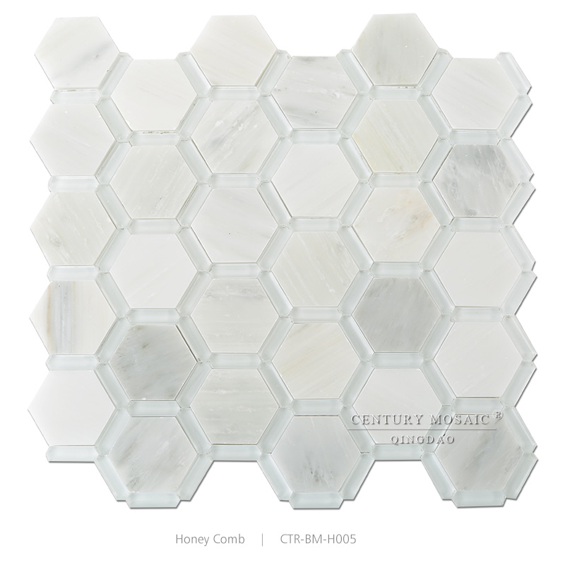 Super White Gl Mix Marble Hexagon Pool Mosaic Tile 1cm Thick