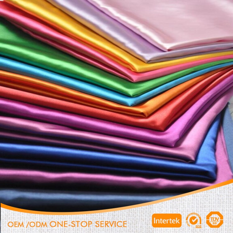 For apparel 100% polyester shiny stretch satin fabric