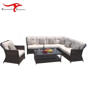 Outdoor Garden Patio Balcony Furniture Wicker Rattan Sectional Corner Lounge Sofa