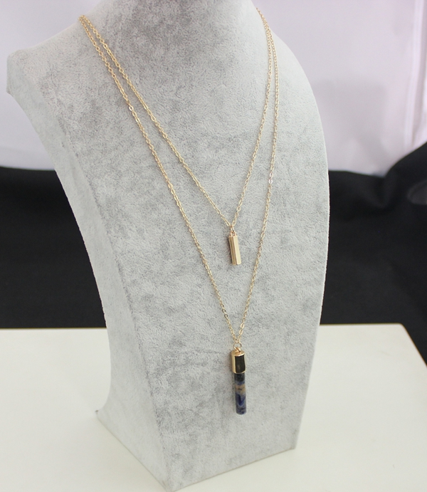 Hot Sale 2 layer lapis lazuli Necklace Jewelry Gold Plated Multilayer Stick Cylinder Nature Stone Pendant Necklaces For Women