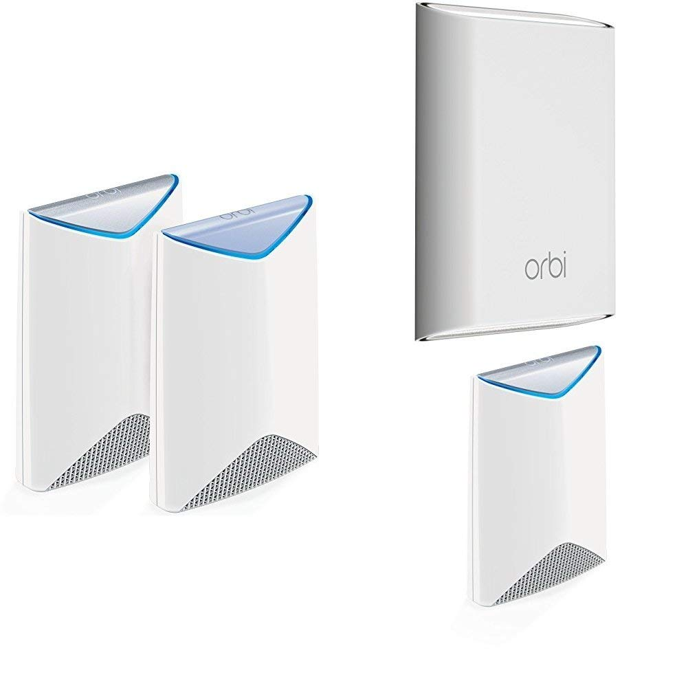 NETGEAR Orbi Pro Business Indoor Outdoor Mesh WiFi System 4-Pack - 7,500 sqft indoors, 2,500sqft outdoors, AC3000 Tri-band, Single SSID (SRK60 + RBS50Y + SRS60)