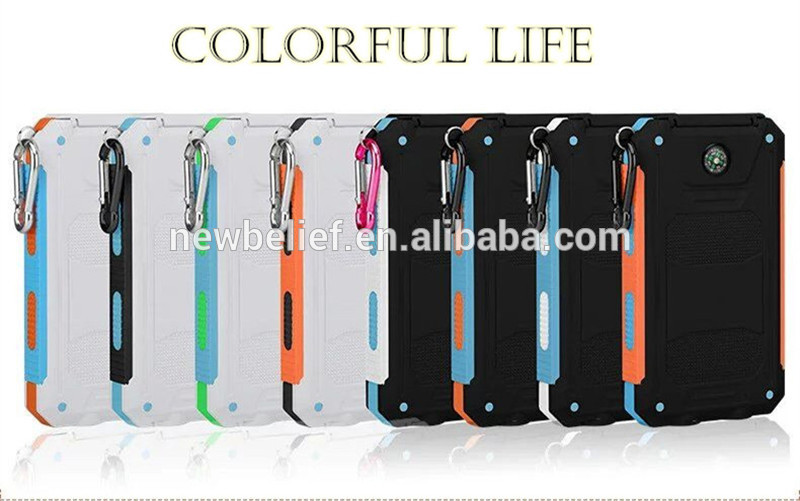 IP67 IPX6 Waterproof Solar Power Bank 20000mah Solar charger waterproof 10000mah 8000mah power bank portable for cell