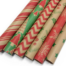 Premium Quality custom printed kraft paper roll set christmas gift wrapping paper