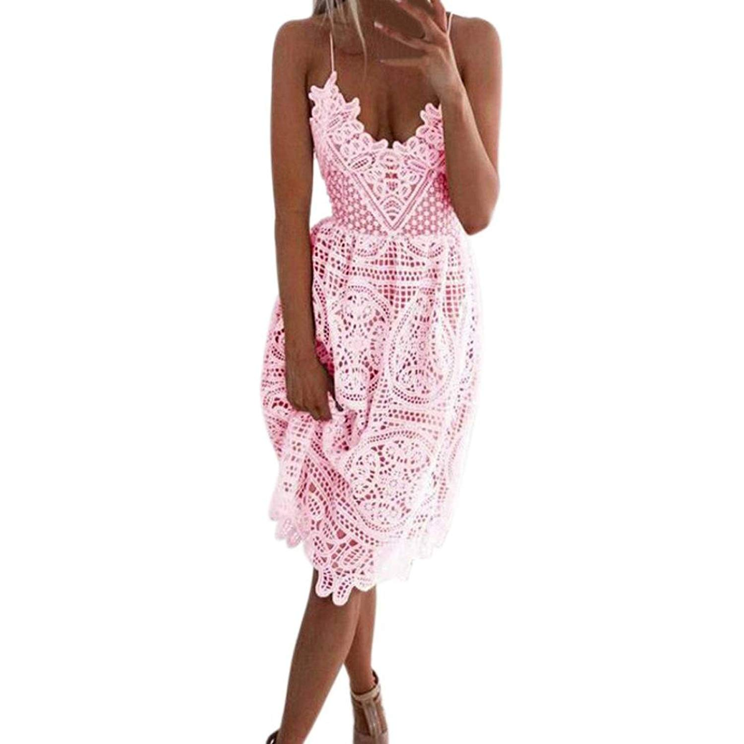 b882ab5c7d4 Get Quotations · Wondere Summer Sleeveless Lace Sling Dress for Women