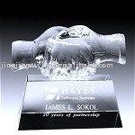 New delivery china Hot sales hand shaped crystal trophy,crystal handicrafts for business gift