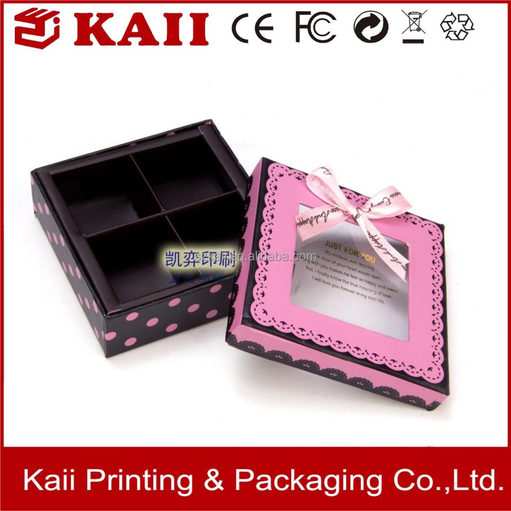 pink lid and base box with pvc window and ribbon supplier in China